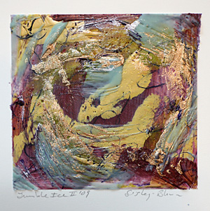 """Jumble Ice II."" Encaustic Painting. 4"" x 4""."